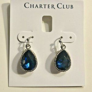 Charter Club Silver And Blue Stone Drop Earrings